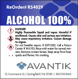 Reagent Label - 100% Alcohol - Each