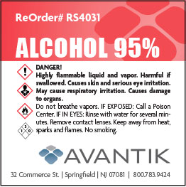 Reagent Label - 95% Alcohol - Each