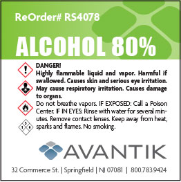 Reagent Label - 80% Alcohol - Each