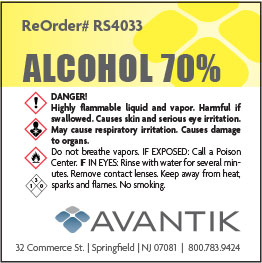 Reagent Label - 70% Alcohol - Each